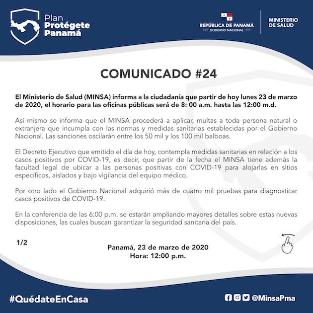 Covid 19 Amplian El Toque De Queda Reducen Horario De Oficinas Publicas Y Anuncias Multas Hasta Por Us 100 Mil En Panama Snip Noticias